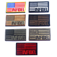 american military patches - 50 Embroidered American Flag INFIDEL Patch D Tactical Patches Fabric US Army Badge Cloth Combat Armband Military Badges