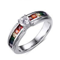 al por mayor piedra preciosa inoxidable-Anillos de piedras preciosas de la joyería del acero inoxidable Arco iris de la marca de fábrica 2016 AAA Zircon Pave Anillos de diamante Anillos de titanio para hombre