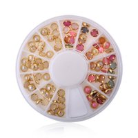 Wholesale 12 Styles cm metal nail art sticker decoration Japanese color pearl nail stickers D rhinestone crystal nail decorations box