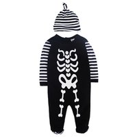 baby skeletons - boy clothing set romper hat spring autumn stripe cap skull rompers baby clothes christmas halloween skeleton boys clothing sets