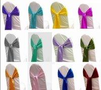 Wholesale Satin Chair Sashes Banquet Sash Wedding Party Bows Tie Decoration Chair Cover Sash Bow Wedding Anniversary Sashes