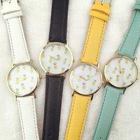 al por mayor reloj amarillo ginebra-Patrón de piña de relojes de alta calidad para las mujeres de la correa de cuero amarillo de la más nueva marca de fábrica hombres de las señoras de los relojes de Ginebra al por mayor de relojes baratos