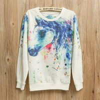 american paint horse - 2016 New Autumn Sweatshirt Women Ink painting horses Printed Women Tracksuits fashion Style Long Sleeve Casual Female Hoodies
