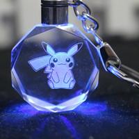 christmas ball glass - Type Poke Pikachu Crystal Keychains Electronic Key Finder Hot Sale Octangle Balls Blue Light Key Ring Christmas Gifts