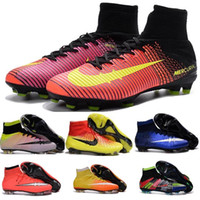 Wholesale 100 Original JR MERCURIAL SUPERFLY V FG AG Children Kids Boys Girls Womens Mens HYPERVENOMX PROXIMO II MAGISTA Football Boots Soccer Shoes
