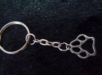 Wholesale Dog Cat Paw Print Charm DIY Keychain Silver Tone Key Chain Keyring Fashion Pendant Jewelry J0