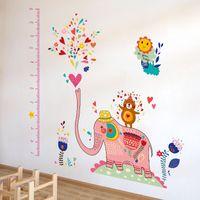 Etiqueta engomada decorativa de la pared de la altura de los niños del elefante rosado DIY / papel de empapelar de la etiqueta engomada de la carta de crecimiento del elefante para la decoración casera bolso del tamaño 1pc / opp de los 60 * 90CM