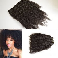 Wholesale Peruvian Virgin Hair B C Afro Kinky Curly Clip In Human Hair Extensions A Peruvian Hair Clip In For Black Women