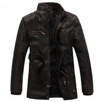 Wholesale Fall Men s Washed Leather Jacket Coat Thicken Winter Fleece Locomotive Jacket Sports Outwear Belt Long Section Faux Fur Overcoat XL