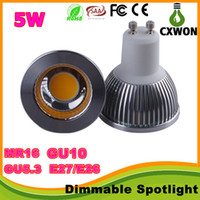 Wholesale Dimmable E27 GU10 MR16 Led Bulbs Lights High Lumens cob W Led Spot Bulbs Lamp V V V Led spotlights ceiling light