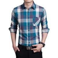 Wholesale 2016 Spring Men s Casual Plaid Shirt Long Sleeve Fitness Shirts Top Quality Size M L XL XXL XXXL
