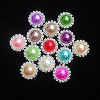 baby embellishment - 15mm COLORFUL flat back rhinestone pearl embellishment button for DIY wedding invitation card baby hair accessory