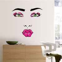 Wholesale Sexy Woman Wall Decal - Fashion Woman Mouth Wall Stickers Sexy Red Mouth Wall Decals Mural Art for Home Decorations WS444