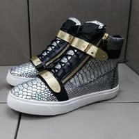 animal scales - DHL new new sneakers silver scales lines high help shoes fashion shoes metal copper high leather boots