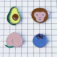 avocado oil - X042 Cute Alloy Avocado Monkey Peach Blueberry Metal Oil Drop Brooch Pins Fashion Jewelry