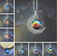 Wholesale 2016 New Vintage starry Moon Outer space Universe Gemstone Pendant Necklaces Mix Models