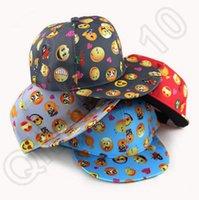 Wholesale 60PCS HHA830 New cartoon QQ Emoji pattern caps children Baseball cap flat along Parental hip hop Emoji pattern hats