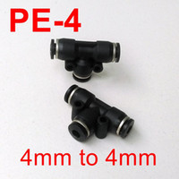 Wholesale DESTO high quality fitting Pneumatic Air Fitting mm to mm to mm T Shape Quick Fitting Connector PE4