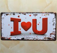 Wholesale Metal Tin Sign I LOVE YOU Embossed License Plate Man Cave Bar Pub Cafe Home Wall Decor Art Poster x12inch