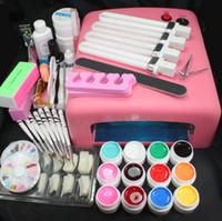 Wholesale Pro W UV GEL Pink Lamp Color UV Gel Practice Fingers Cutter Nail Art DIY Tool Kits Sets set