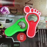 Wholesale NEW Cute lover couple Keychain Key Chain Wedding favor gift Little feet luminous A bottle opener Random color