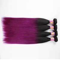 Wholesale Purple hair Bundles Brazilian virgin hair straight ombre Ombre Hair Extensions brazilian india ombre human hair