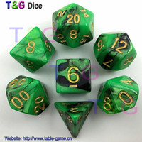 Wholesale Top Quality Hot Mix color Dice Set with Nebula effect juegos de mesa dados dungeons and dragons RPG Green Dice