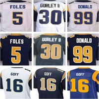 Wholesale Best quality jersey Men s Nick Foles Jared Goff Todd Gurley II Aaron Donald elite jersey Whtie Blue Size