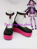 Wholesale Freeshipping Vocaloid Yuzuki Yukari Cosplay Shoes boots black amp purple custom made for Halloween Christmas festival