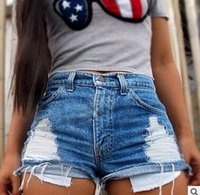 Wholesale New Summer Style Hole Punk Rock Fashion High Waisted Denim Shorts Vintage Ripped Short Jeans Sexy Womens Short Femme hight quality free