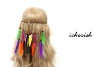 Wholesale 2016Hot Fashion Accessories Feather Headband Hairband Boho Hippie Feather Tassels Leather Belt Beads Headdress Indian Tassel headdress