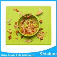 Wholesale Solid Baby tableware with Mat bowl silicone soft baby bowl plates set free dhl without logo