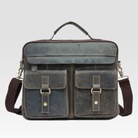 Wholesale new design men Genuine Leather briefcases messege one shoulder bag large and small sizes