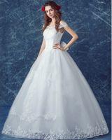 Wholesale New Elegant Pure White Floor length Sweet Princess Off shoulder Shaped Lace Sequins Court Train Bridal Gowns Wedding Dress