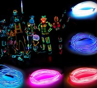 achat en gros de fil de néon à câble-3M Flexible Neon Light Glow EL Fil Câble à cordes Flexible Neon Light 8 couleurs Car Dance Party Costume + Controller Christmas Holiday Decor Light