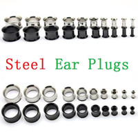 Wholesale Sliver and Black Stainless Steel Ear Plugs Gauge Body Jewelry Pierceing Surgical Steel Ear plugs tunnels mm To mm for man woman ak104