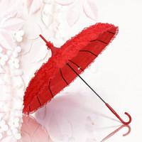 Wholesale Vintage Princess Red Decoration Shade Umbrella Layers Lace Wedding Photo New Bridal Parasols Plastic Handle High Quality Iron Umbrellas BM