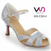 Wholesale Silver Color Nice Shinny upper Sandal WR Y205 Women Suede Pig Skin Salsa Dancing Shoe Tango Dance With cm Heel Height Comfortable Shoe