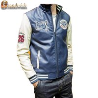 baseball stamps - Fall New Men s Leather Jackets Stamp Embroidery Motorcycle Plus Size XL Patchwork Baseball Leather Coat Men s PU