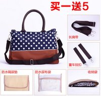 Wholesale Multifunctional wave mummy bag shoulders across a large capacity mummy bag hanging Baby Diaper Bag