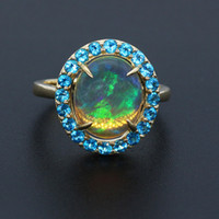 10k gold ring - 7 ct Oval Natural Opal With ct Apatite k Yellow gold Ring