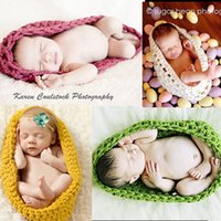baby pods - Baby Bowl Cocoon Photography Props Handmade Newborn Knitted Hat Pod Sleeping Bag Crochet Toddler Costume Outfit