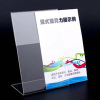 acrylic label holders - New High Quality Clear x9cm L Shape Acrylic Table Sign Price Tag Label Display Paper Promotion Card Holder Papelaria
