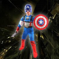 america outfits - Children Avengers Captain America Muscle Costume Halloween Superhero Cosplay Boy Gifts Fancy Dress Outfit with Mask Shield
