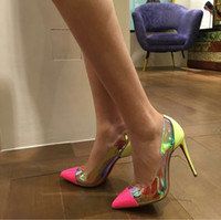 Wholesale 2016 Lady high heels mm Tronetta red bottom pumps Transparent side sparkling gradient