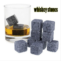 Wholesale 100 Natural Whiskey Stones Set Sipping Ice Cube Whiskey Stone Whiskey Rock Cooler Wedding Gift Favor Christmas Bar