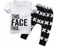 Wholesale ins hot sale boy summer clothes sets children pure cotton letter t shirt harem pants two piece sets kids clothes suits