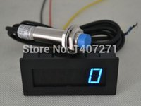 Wholesale New Blue LED Tachometer RPM Speed Meter Proximity Switch Sensor NPN Wire