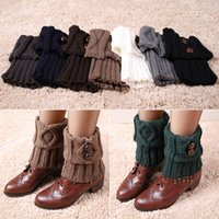 Wholesale Women Winter Short Leg Warmers Fashion Button Crochet Knit Boot Socks Toppers Cuffs