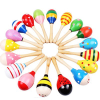 Wholesale 300Pcs Hot Colorful Wooden Maraca Rattles Kids Musical Party rattle drum Toys Infant Baby Colorful Sand Hammer Toys